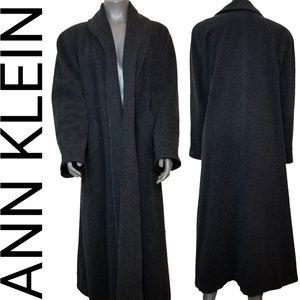 Ann Klein Dark Charcoal Wool Trench Coat